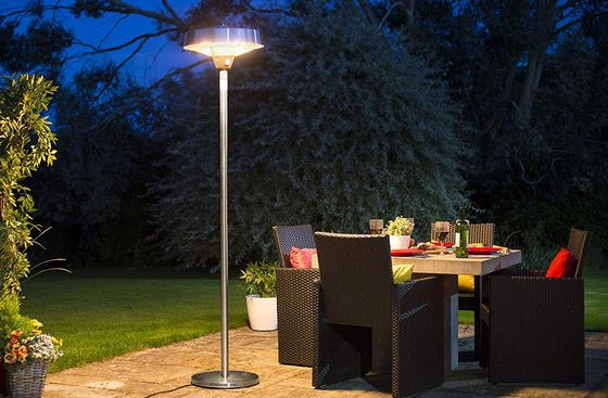 Outdoor Electric Heater In Polished Steel Finish