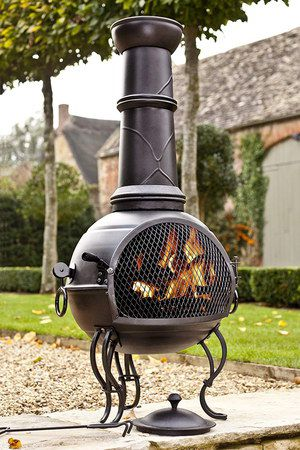 Tall Chiminea In Black On Slab