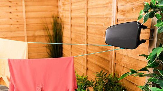 Washing Line Fixed To Post In Garden