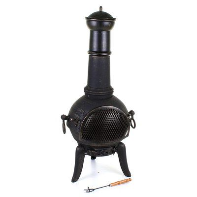 Rust Proof Chiminea Heater With Black Poker