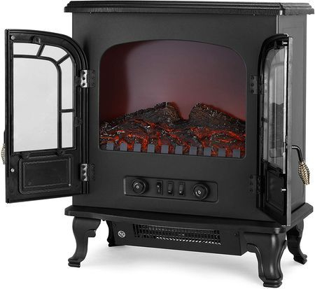 Black Electric Stove Fire With Double Door
