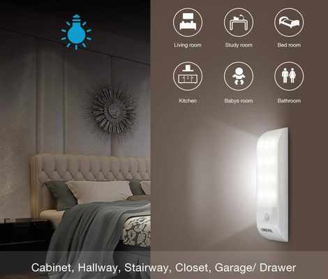 LED Motion Sensor Light On Dark Wall