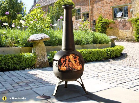 Large Steel Tall Chiminea With Lid