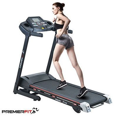 Fold-Up Treadmill With Black Wheels
