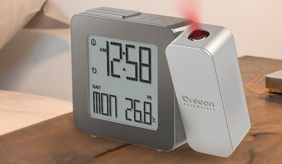 Radio Controlled Alarm Clock In Silver Grey