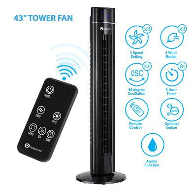 Tower Fan With Black Square Hand Remote