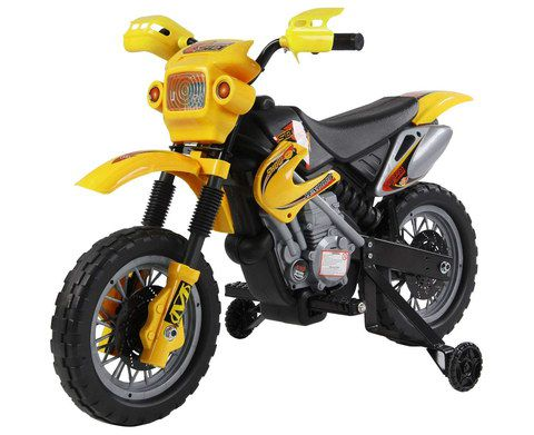 Kids Battery Motor Bike In Yellow With Lamps