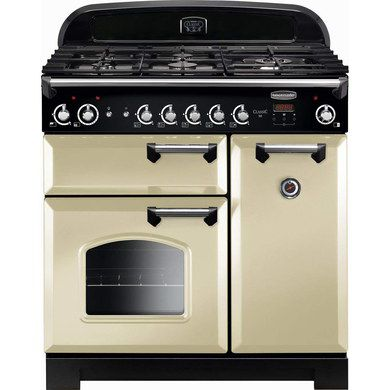Gas Range Cooker In Cream And Chrome