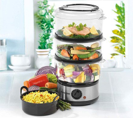 3 Tier Food Steamer With Black Dial
