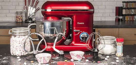 Electric Food Mixer In Red With Big Bowl