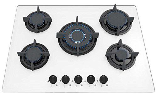 5 Burners White Style Gas On Glass Hob