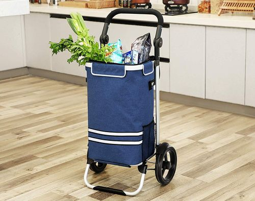 Shopping Bag On Wheels With Black Handle