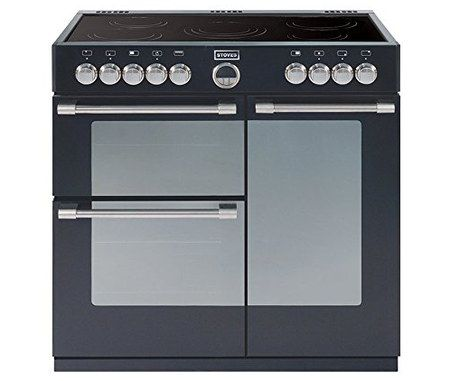 Electric Range Cooker In Black With Polished Controls