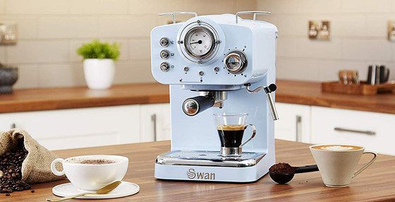 Pump Espresso Machine In Blue Retro Style
