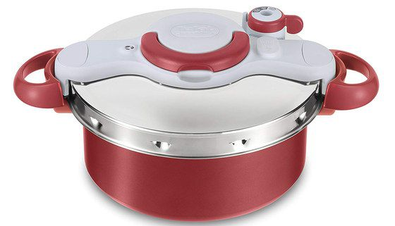 Electric Pressure Pot In Red, White And Steel