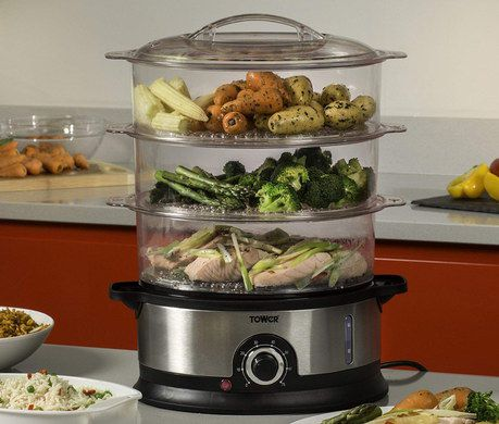 3 Tier Food Steamer With Round Heat Knob