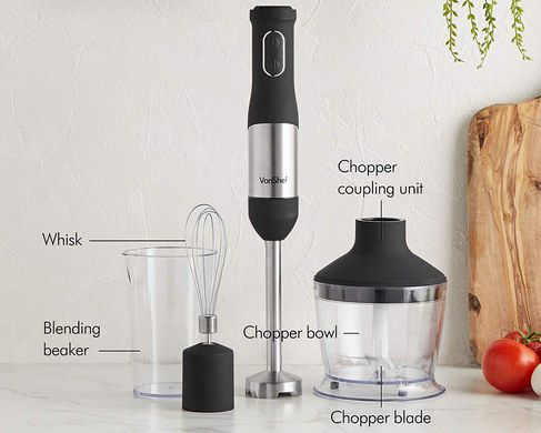 Handheld Food Processor In Black And Chrome