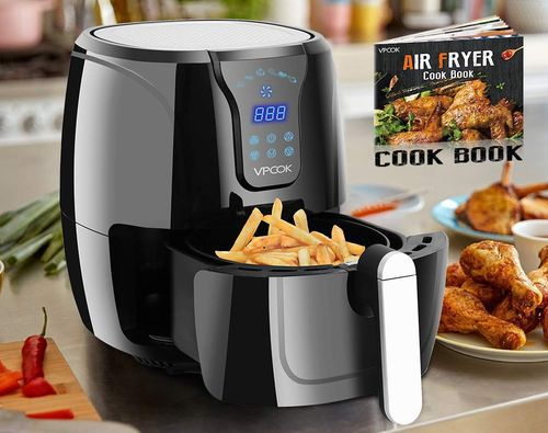 Black Hot Air Fryer With Chips In Tray