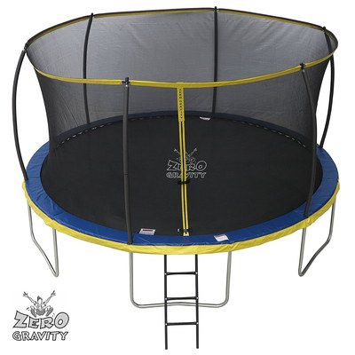 Trampoline In Blue With With Small Ladder