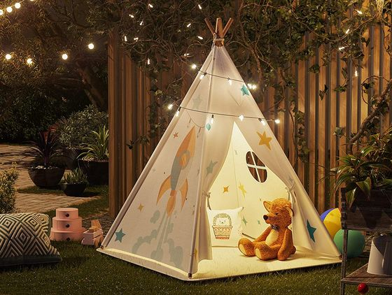 White Teepee With Space For Three Kids