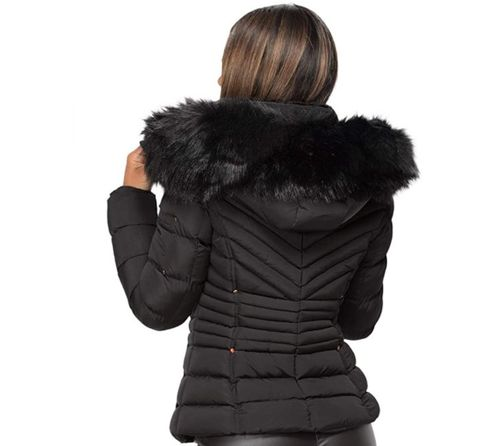 Quilted Fur Collar Hooded Jacket Long Sleeve