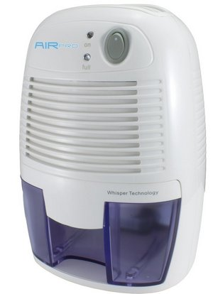 Small Air Dehumidifier In White And Blue Exterior