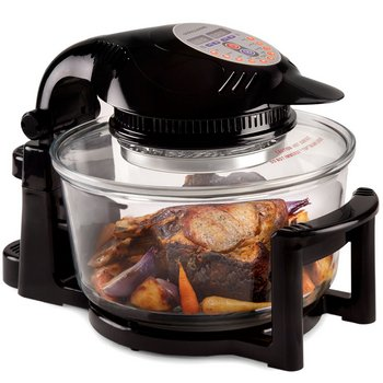 Halogen Oven With Hinge Lid In Black Exterior