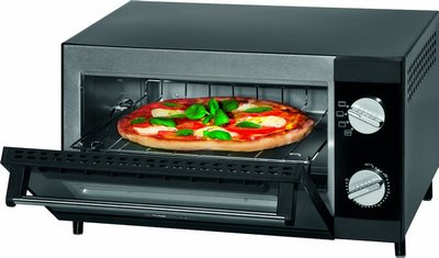 Amazing Quartz Heating System Pizza Oven In Steel Effect And Black Exterior