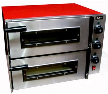 Pizza Oven In Red And Stainless Steel Housing