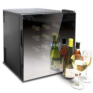 Mirror Front 16 Bottle Wine Cooler In Gloss Black Finish