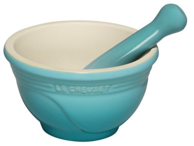 Stoneware Pestle And Mortar In Light Blue Finish