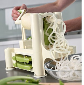Steel Blade Veg Spiralizer In White Finish
