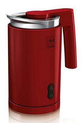 Hot And Cold Auto Milk Frother In Red And Chrome Finish