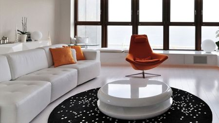White Living Room With Contemporary Chair