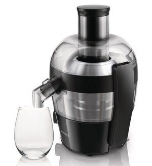 See-Thorugh Pulp Viewer Small Juicer In Brushed Steel And Black Finish