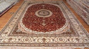 Red And Brown Pattern Silk Rug