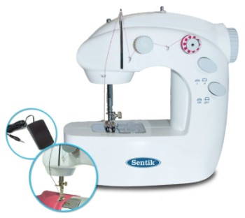 Sentik Mini Sewing Machine In White With Round Dial