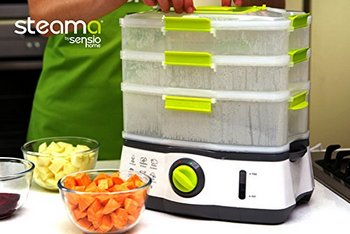 Steama Food Steamer In Black, White And Yellow