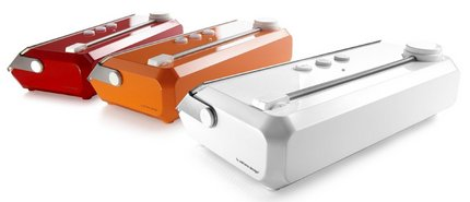 Vacuum Sealer Machines In Red, White And Orange Colours