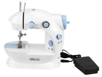 eSecure Mini Handheld Sewing Machine In White With Black Pedal