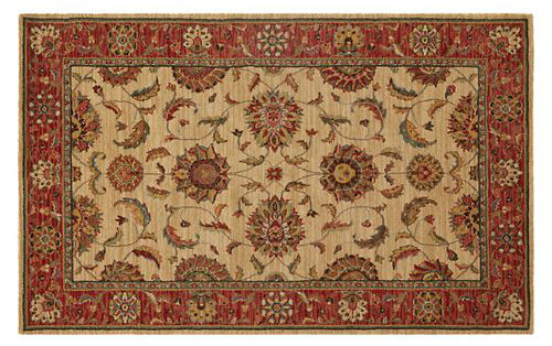 Red, Patterned, Rectangular Oriental Style Rug