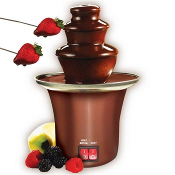 Mains Powered Chocolate Fountain Shown With Strawberries