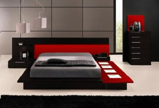 Red And Mahogany Themed Bedroom