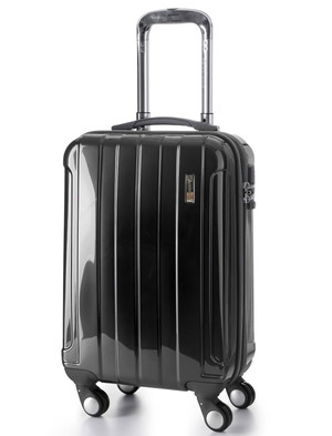 5 Cities Hard Shell Cabin Approved Luggage Case In Black Exterior