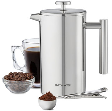Insulated Cafetiere Stainless Steel With Coffee Glass