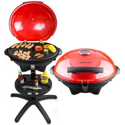 Electric Steel Charcoal Barbecue In Bright Red