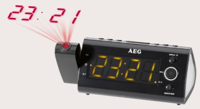 AEG MRC4121P Clock Radio Wall Projector Angled Upwards