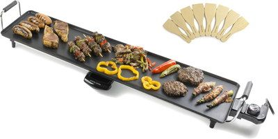 Big Indoor Grill Teppanyaki Griddle With 2 Black Grips