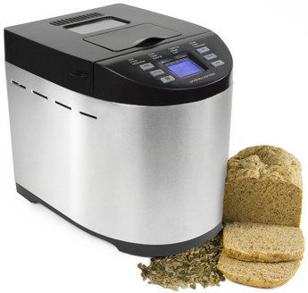 Bread Maker In Steel With Sliced Brown Loaf