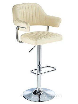 Steel Stem Retro Bar Stool For Kitchens In Cream Finish